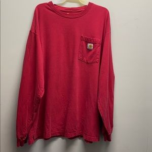 Carhartt red long sleeve shirt 100% cotton large